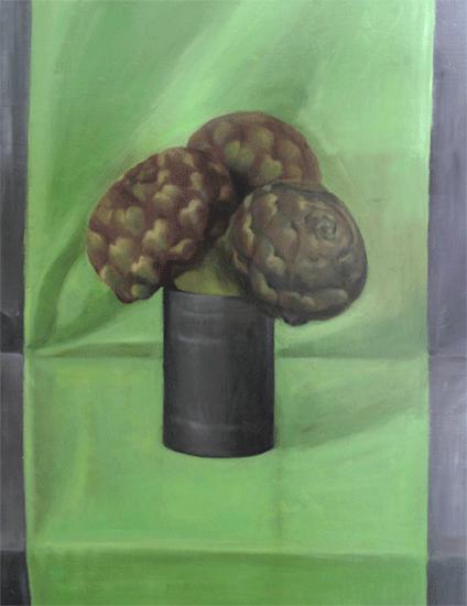 Isabelle de La Touche peintre vaudoise - Suisse - Mexique - St-Prex - bouquet artichauts - huile sur