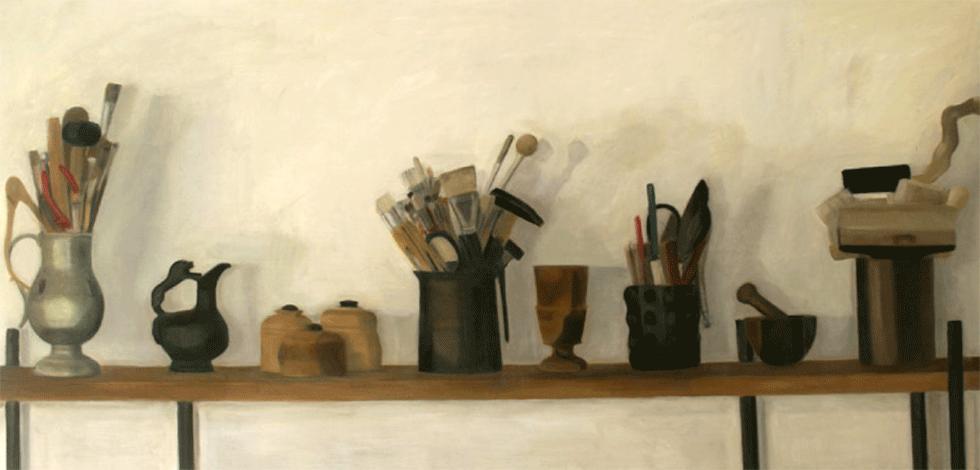 Isabelle de La Touche peintre suisse - Lausanne - outils d'atelier - huile sur toile