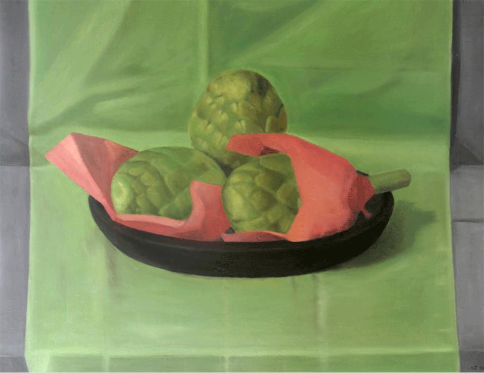 Isabelle de La Touche peintre suisse - Lausanne - Etoy - nature morte aux artichauts - huile sur toi