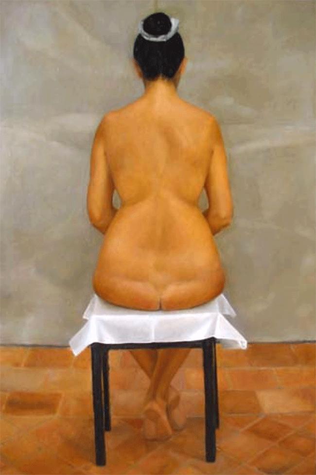 Isabelle de La Touche artiste peintre suisse - Vaud - St-Prex - dos nu assis - huile sur toile - ins