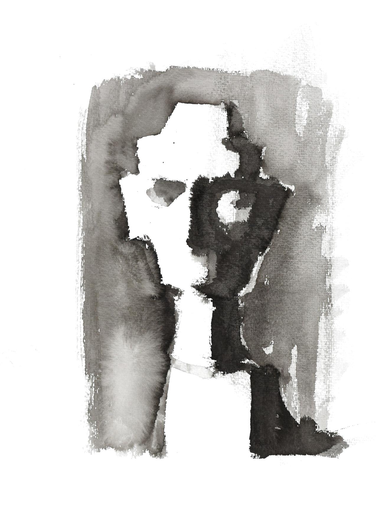 Isabelle de la Touche - painting - Nefertiti bust - black ink