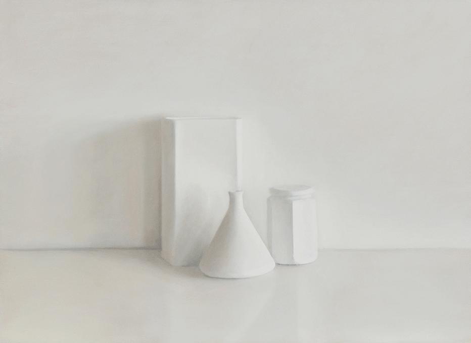 Isabelle de la Touche peintre vaudoise - nature morte - 3 bols blancs - huile sur toile et tempera