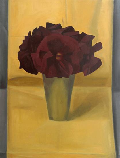 Isabelle de La Touche artiste peintre suisse - Vaud - St-Prex - bouquet de fleurs - huile sur toile