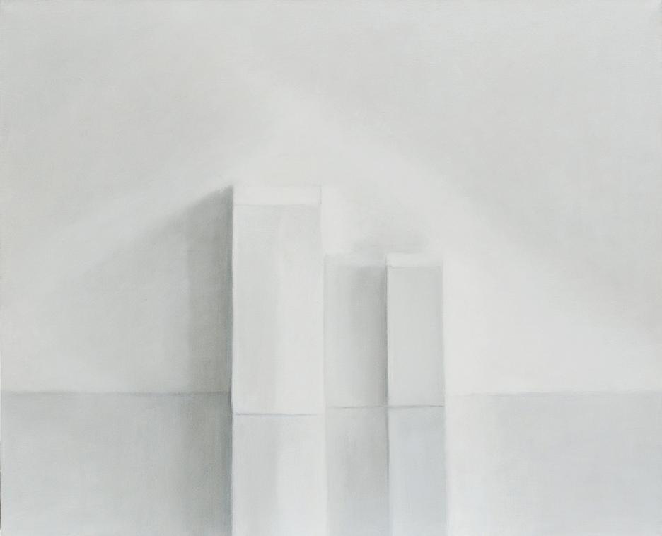 Isabelle de la Touche peintre à St-Prex - Vaud - Suisse - nature morte - 3 boîtes blanches - huile s