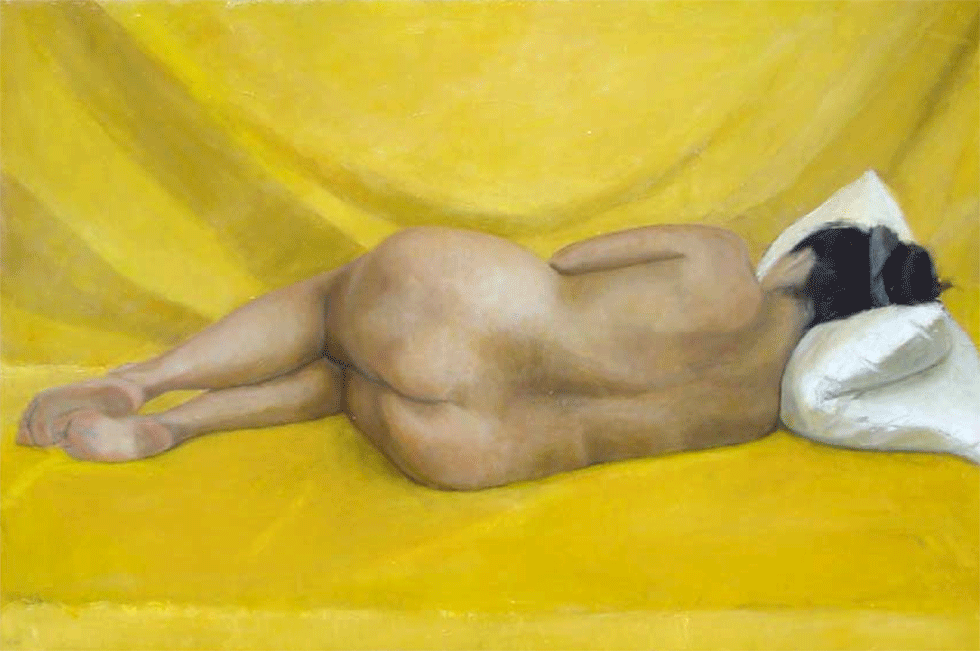 Isabelle de La Touche peintre suisse - nu couché de femme - ocre - inspiration Velazquez - huile sur