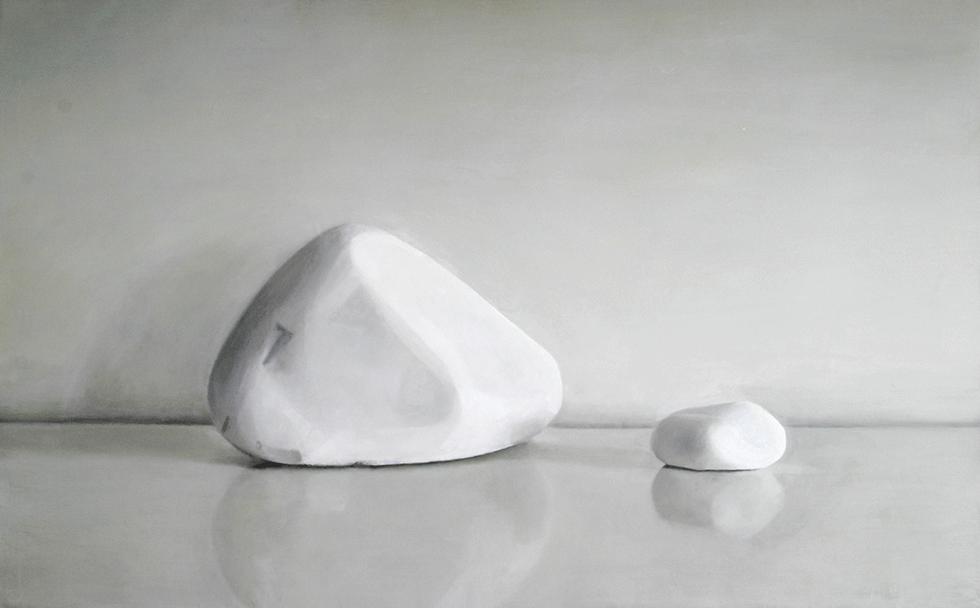 Isabelle de la Touche artiste peintre à Etoy - Vaud - Suisse - nature morte - Pierres blanches - hui