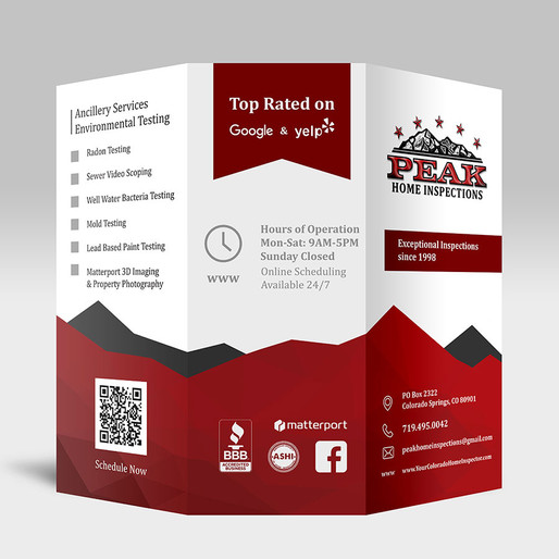 Business card & brochure design for Peak Home Inspections