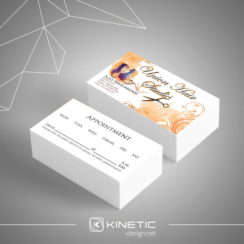 Union Hair Studio Business Card Orange