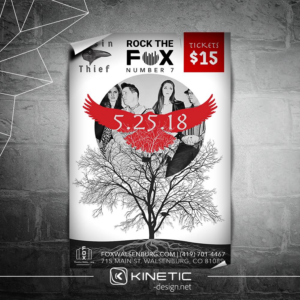 Rosin Thief concert poster design for Fox Theatre Walsenburg, CO