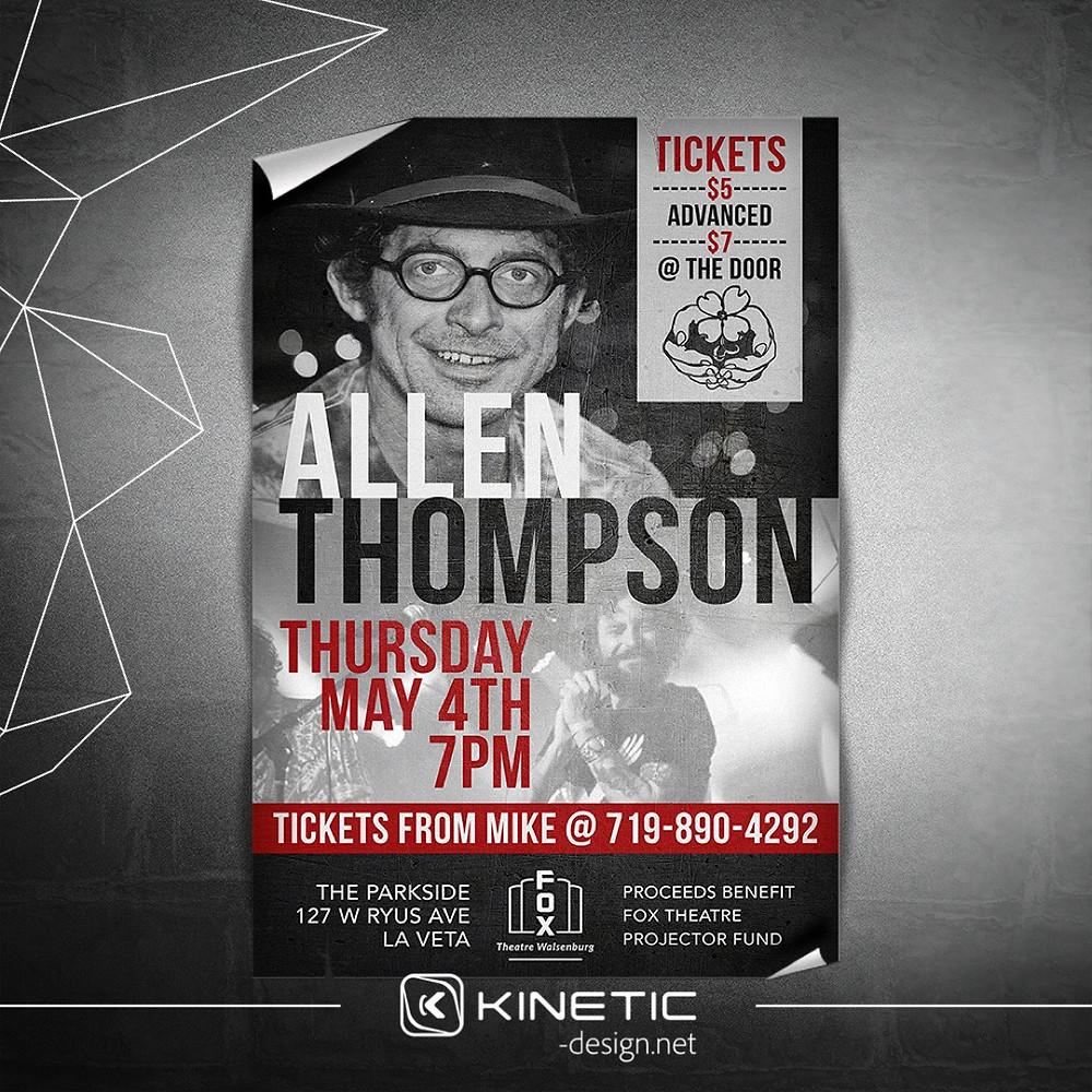 Allen Thompson concert poster design for Fox Theatre Walsenburg, CO