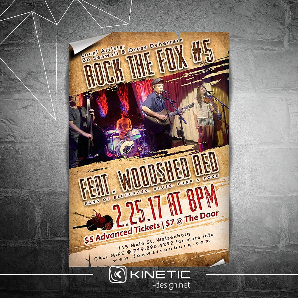 Woodshed Red concert poster design for Fox Theatre Walsenburg, CO