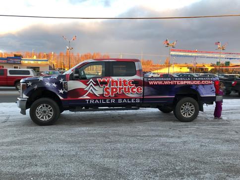 White Spruce Truck Vehicle Wrap