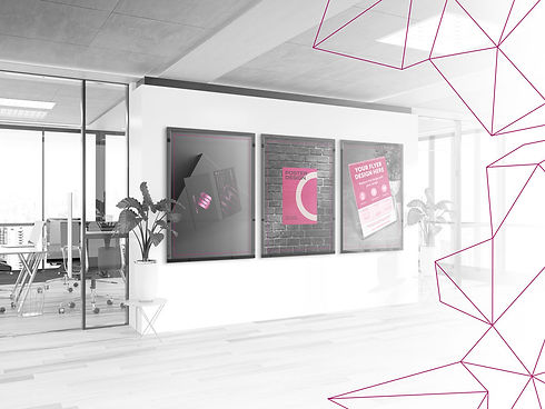 Print marketing background in an open, well-lit office space and three posters in the center