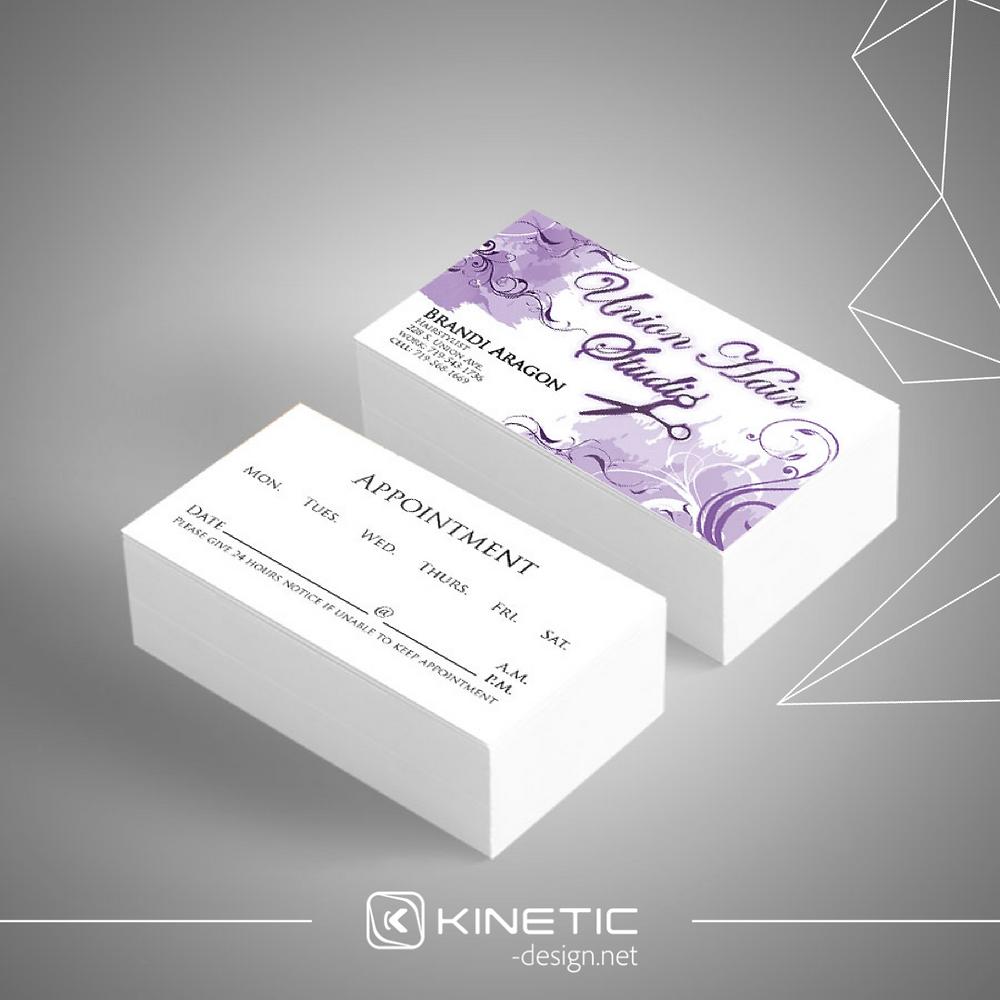Union Hair Studio Business Card Purple