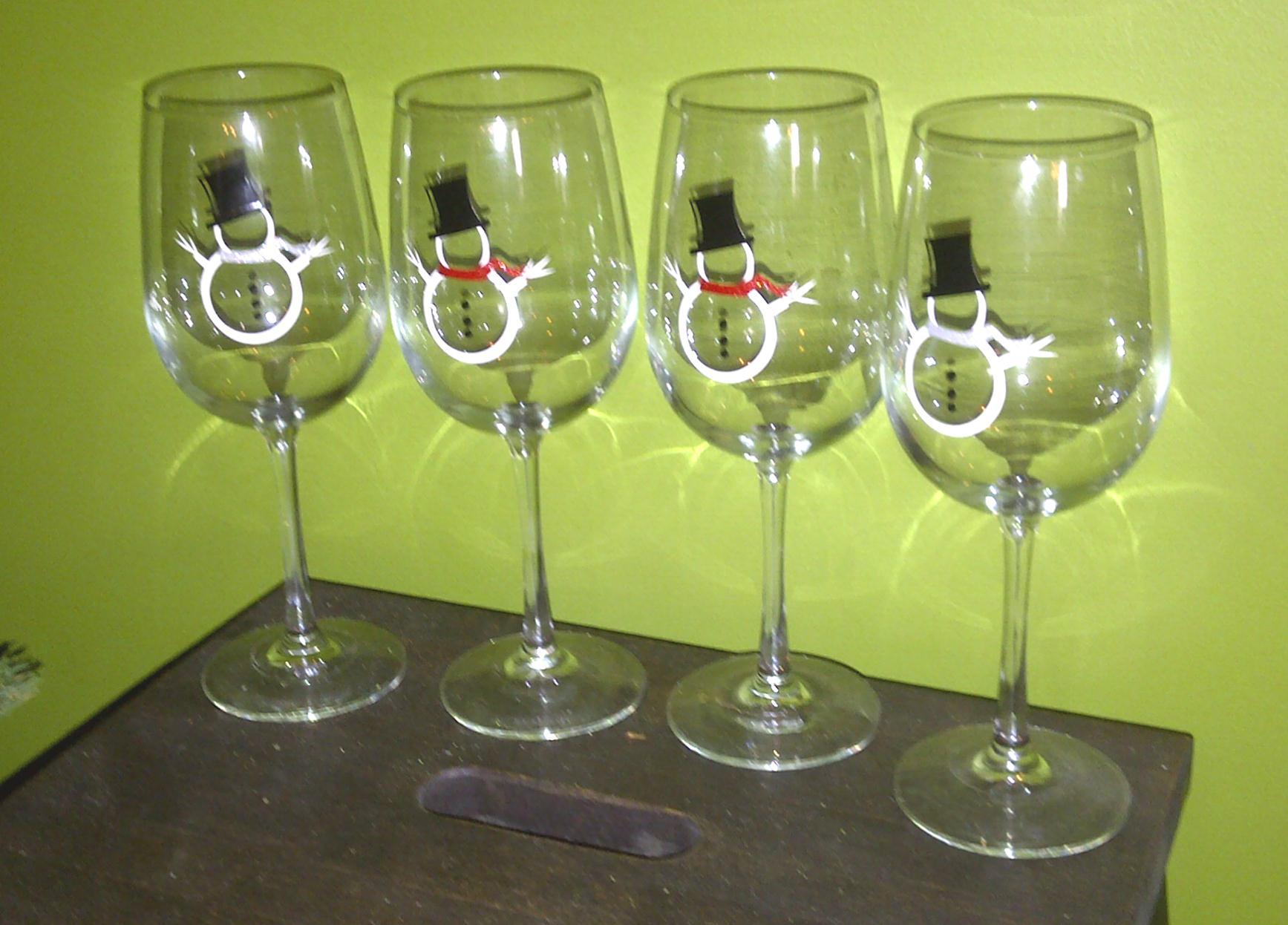 snowman wine glasses