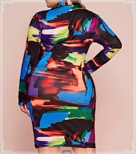Multicolored Print Bodycon Dress