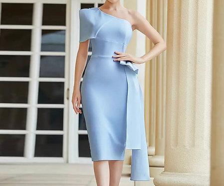 Elegant One Shoulder Bowtie Dress