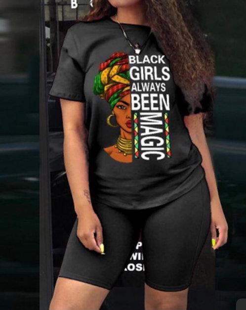 Casual O Neck Print Black Two-piece Shorts Set
