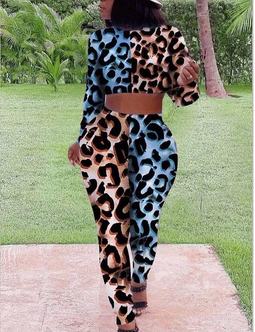 Casual Leopard Print Patchwork Two Piece Pants Set