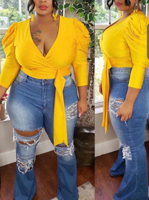 Trendy V Neck Lace-up Yellow Plus Size Blouse