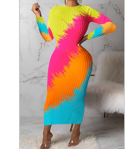 Casual Multicolored Ankle Bodycon Dress