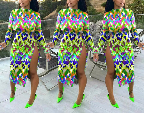 Colorful Leopard Printting Round Neck Long Sleeves long Slit Autumn Dress