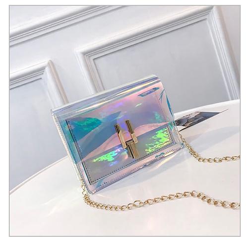 Chic see-through silver crossbody bag
