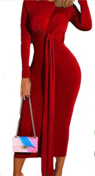 Red Long Sleeve Velvet Solid Midi Dress With A Belt