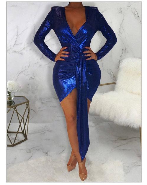 Sexy Deep V Neck Asymmetrical Blue Mini Dress