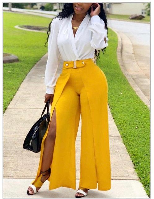 Street Side High Slit Yellow Pants