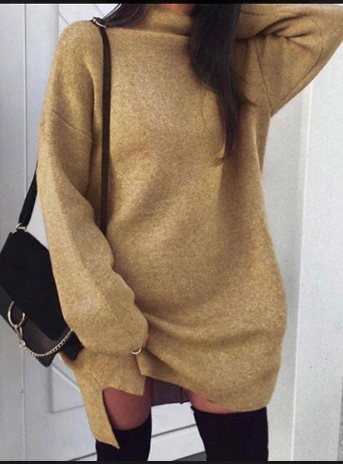Plus Size Casual Half A Turtleneck Loose Khaki Mini Sweater Dress