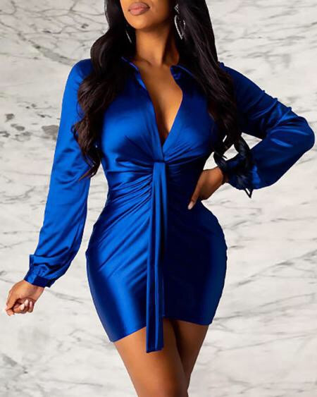 Solid Turn-down Collar Long Sleeve Ruched Shirt Bodycon Dress