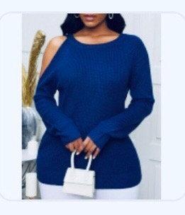 Dew Shoulder Blue Sweater