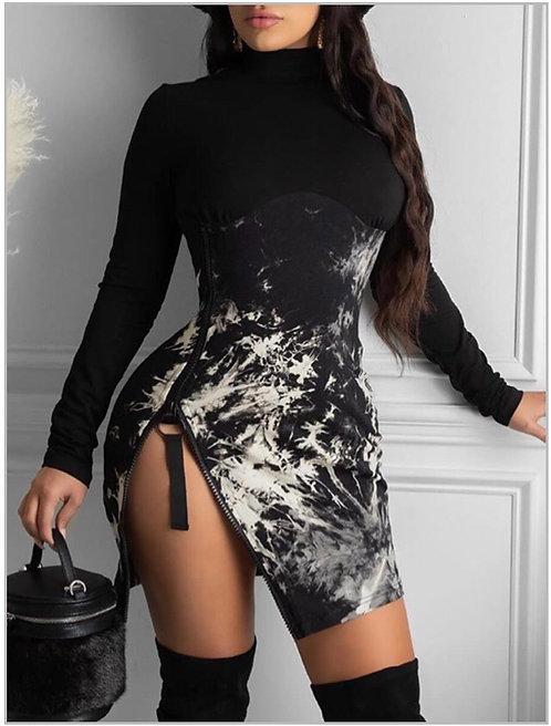 Casual Turtle Neck Long Sleeve Tie Dye Black Mini Dress