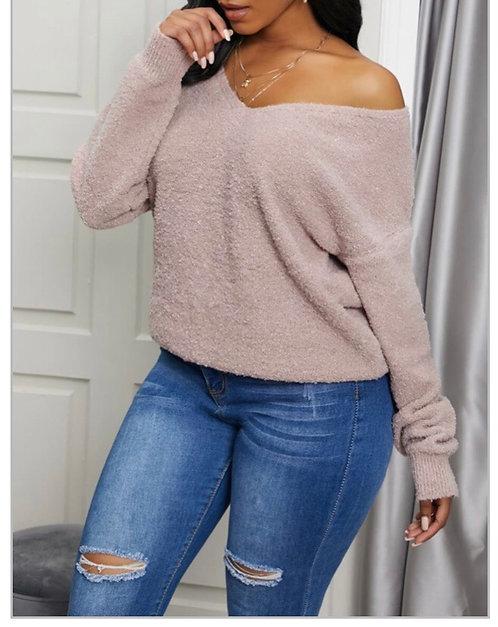 Casual V Neck Basic Khaki Sweater