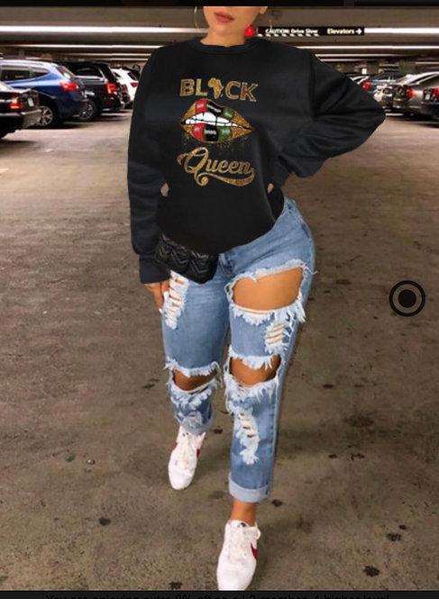 Trendy Lip Letter Print Black Queen Sweater