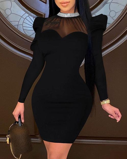 Sheer Mesh Plain Studded Bodycon Dress