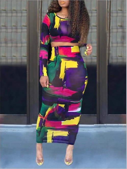 Midnight HourTwo Piece Multicolored Ankle Skirt Set