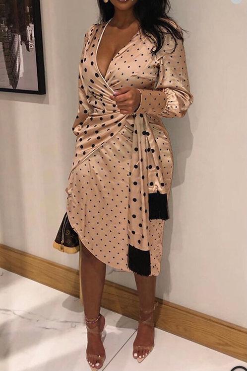 Sweet Dot Champagne Knee Length Dress