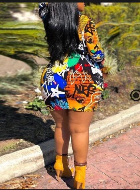 Casual Graffiti Letter Print Multicolor Mini Plus Size Dress