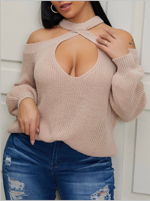 Sexy O Neck Hollow-out Beige Sweater