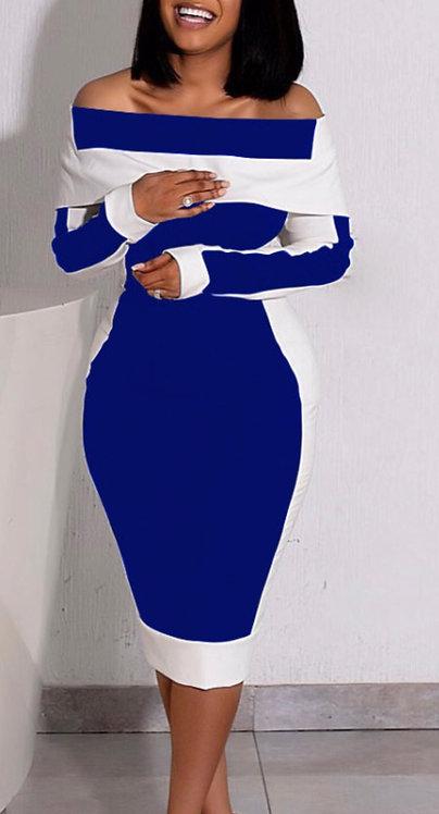 Dark Blue Off Shoulder Long Sleeve Color Block Skinny Midi Dress
