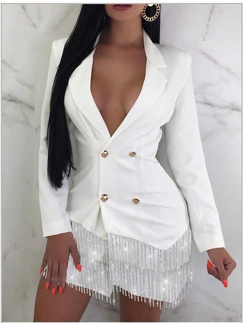 Trendy Turn-back Collar Tassel Design White Mini Blazer Dress