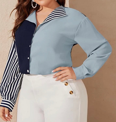 Collard Colorblock Striped Sleeve Blouse