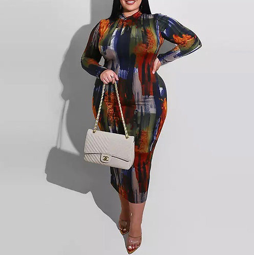 Painted Tie Dye Print Bodycon Midi Maxi Dress