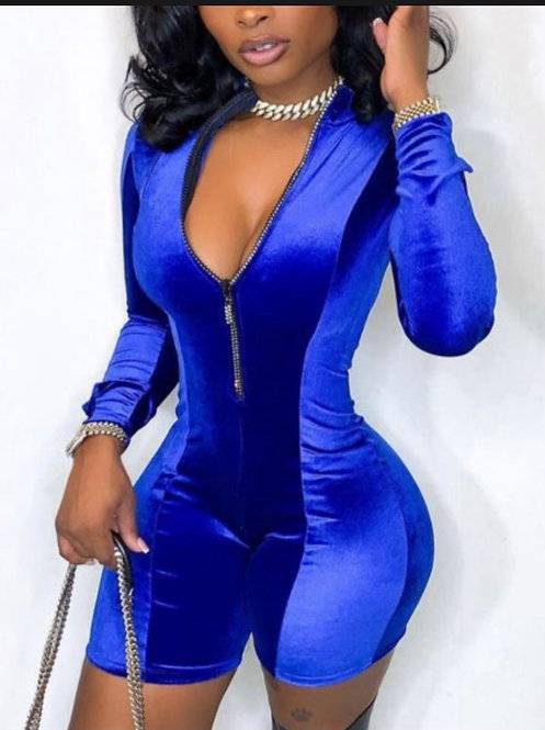 Chic Zipper Design Basic Skinny Blue One-piece
