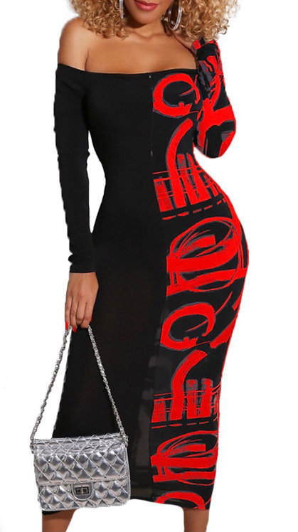 Red Off Shoulder Long Sleeve Abstract Print Midi Dress