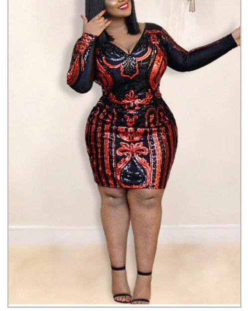 Stylish V Neck Sequined Red Knee Length Plus Size Dress