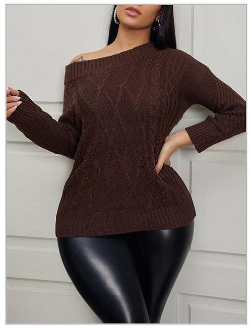 Trendy Dew Shoulder Coffee Sweater