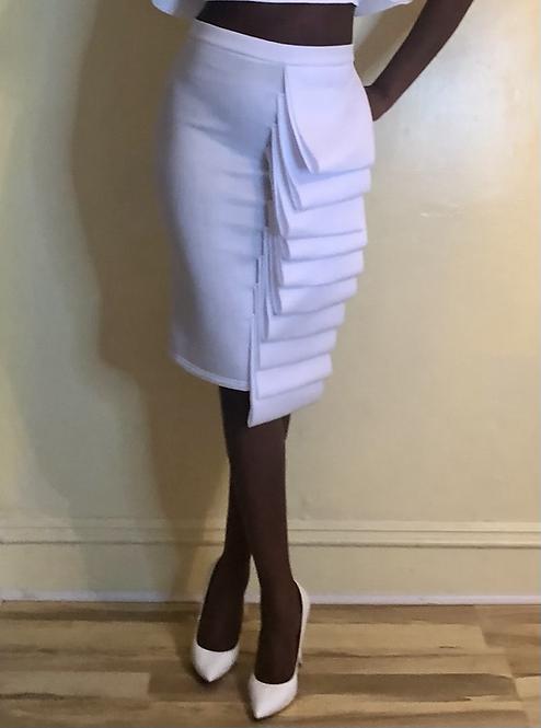 Ruffled High Waisted White Skirt